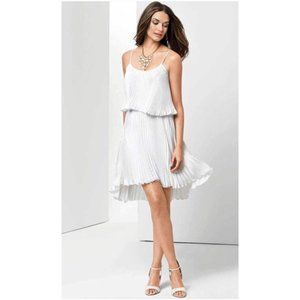 CACHE WHITE PLEATED LAYERED HI LOW DRESS SMALL